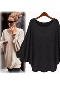 black-round-neck-dolman-sleeve-loose-casual-pullover-sweater